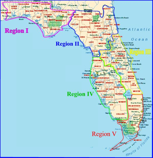map of florida. FL-SAC Regional Map